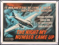 6t275 NIGHT MY NUMBER CAME UP linen British quad 1955 Ealing Studios, art of Royal Air Force plane!