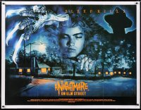 6t276 NIGHTMARE ON ELM STREET linen British quad 1984 best different art of Freddy by Humphreys!