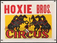 6t059 HOXIE BROS. CIRCUS linen 21x29 circus poster 1950s art of trainer with whip & dancing horses!