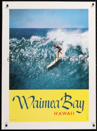 6t216 WAIMEA BAY HAWAII linen 21x30 commercial poster 1960s Grannis photo of Mike Doyle surfing!