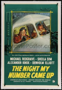 6t267 NIGHT MY NUMBER CAME UP linen English 1sh 1955 British Royal Air Force pilot Michael Redgrave!