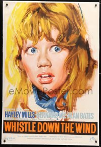 6t271 WHISTLE DOWN THE WIND linen English 1sh 1962 Bryan Forbes, cool close up art of Hayley Mills!