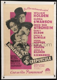 6t344 SUNSET BOULEVARD linen French 23x32 1951 Holden, von Stroheim, Swanson, different cast montage!