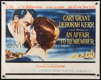 6t005 AFFAIR TO REMEMBER linen 1/2sh 1957 art of Cary Grant about to kiss Deborah Kerr, Leo McCarey!