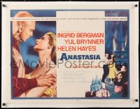 6t006 ANASTASIA linen 1/2sh 1956 great romantic close up of Ingrid Bergman & Yul Brynner!