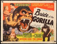 6t007 BRIDE OF THE GORILLA linen 1/2sh 1951 a blonde beauty and a savage beast alone in the jungle!