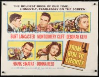 6t011 FROM HERE TO ETERNITY linen 1/2sh 1953 Burt Lancaster, Kerr, Sinatra, Donna Reed, Clift