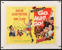 6t012 GO MAN GO linen style B 1/2sh 1954 Dane Clark with the Harlem Globetrotters, basketball bio!