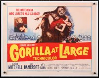 6t013 GORILLA AT LARGE linen 1/2sh 1954 great art of giant ape holding screaming sexy Anne Bancroft!