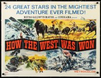 6t014 HOW THE WEST WAS WON linen 1/2sh 1964 great Reynold Brown montage art of John Ford epic!