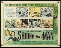 6t015 INCREDIBLE SHRINKING MAN linen style A 1/2sh 1957 Jack Arnold classic, wonderful sci-fi art!