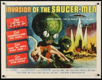 6t003 INVASION OF THE SAUCER MEN linen 1/2sh 1957 classic art of cabbage head aliens & sexy girl!