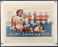 6t017 JIM THORPE ALL AMERICAN linen 1/2sh 1951 Burt Lancaster as the greatest athlete of all time!