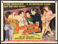 6t018 JUVENILE JUNGLE linen style B 1/2sh 1958 delinquent & a jet propelled gang out for fast kicks!