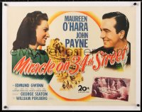 6t019 MIRACLE ON 34th STREET linen 1/2sh 1947 Maureen O'Hara, John Payne, Natalie Wood, Edmund Gwenn