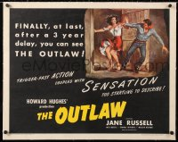 6t021 OUTLAW linen 1/2sh R1950 Howard Hughes, RW artwork of sexy Jane Russell & Jack Buetel!