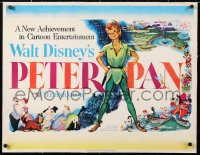 6t022 PETER PAN linen style A 1/2sh 1953 Walt Disney animated cartoon fantasy classic, great art!