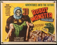 6t024 ROBOT MONSTER linen 3D 1/2sh 1953 worst movie ever, art of ape creature & girl, ultra rare!