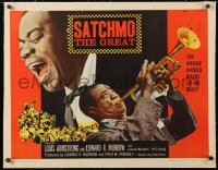 6t025 SATCHMO THE GREAT linen 1/2sh 1957 two images of Louis Armstrong playing trumpet & singing!