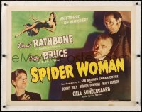 6t028 SPIDER WOMAN linen 1/2sh 1944 Basil Rathbone, Nigel Bruce, mistress of murder, ultra rare!