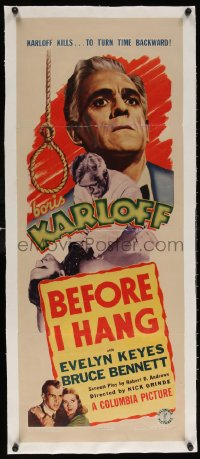 6t033 BEFORE I HANG linen insert 1940 mad scientist Boris Karloff kills to turn time backward, rare!
