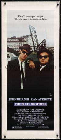 6t034 BLUES BROTHERS linen insert 1980 John Belushi & Dan Aykroyd are on a mission from God!