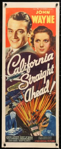 6t035 CALIFORNIA STRAIGHT AHEAD linen insert 1937 John Wayne, trucks/train cross country, rare!
