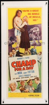 6t036 CHAMP FOR A DAY linen insert 1953 Audrey Totter calls boxer Alex Nicol a bundle of muscle!
