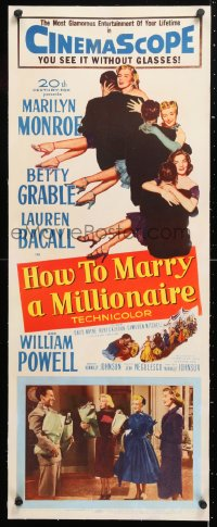 6t041 HOW TO MARRY A MILLIONAIRE linen insert 1953 Marilyn Monroe, Betty Grable & Lauren Bacall!