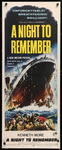 6t045 NIGHT TO REMEMBER linen insert 1959 English Titanic biography, art of legendary ship, rare!