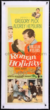 6t048 ROMAN HOLIDAY linen insert 1953 multiple images of Best Actress Audrey Hepburn & Gregory Peck!
