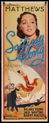 6t049 SAILING ALONG linen insert 1938 rich Roland Young makes Jessie Matthews' dreams come true!
