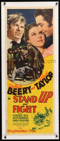 6t050 STAND UP & FIGHT linen insert 1939 Wallace Beery, Robert Taylor, Florence Rice, very rare!