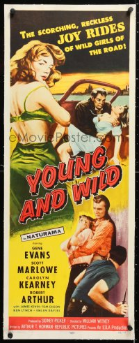 6t054 YOUNG & WILD linen insert 1958 artwork of the reckless joy rides of wild girls of the road!