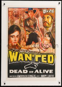 6t251 WANTED DEAD OR ALIVE linen Indian 20x30 1984 cast montage art with sexy half-dressed woman!