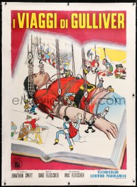 6t260 GULLIVER'S TRAVELS linen Italian 1p R1960s great cartoon art of bound giant & little people!