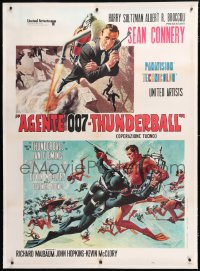 6t261 THUNDERBALL linen Italian 1p R1971 cool Frank McCarthy art of Sean Connery as James Bond 007!