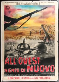 6t262 ALL QUIET ON THE WESTERN FRONT linen Italian 2p R1960s Lewis Milestone WWI classic, different!