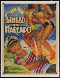 6t238 SIMBAD EL MAREADO linen Mexican poster 1950 art of Tin Tan on beach with sexy girls by Cabral!