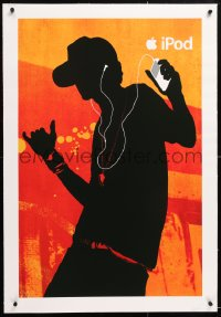 6t174 APPLE linen 24x36 advertising poster 2000s cool silhouette of man using his iPod & dancing!