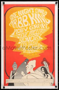 6t064 B.B. KING/MOBY GRAPE/STEVE MILLER BAND linen 14x22 music concert poster 1967 John Myers art!