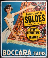 6t176 BOCCARA - TAPIS linen 46x56 French advertising poster 1950s art of pretty woman selling rugs!