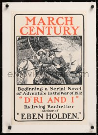 6t177 CENTURY MAGAZINE linen 13x19 advertising poster March 1901 serial novel of the War of 1812!