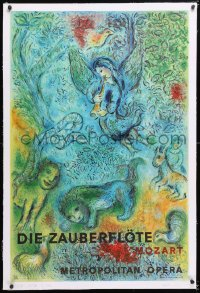 6t074 DIE ZAUBERFLOTE linen 26x39 French stage poster 1967 Mozart's The Magic Flute, cool art!