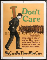 6t060 I DON'T CARE linen 36x48 motivational poster 1929 workers who care make the fewest mistakes!