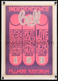 6t067 INDEPENDENCE BALL linen 14x20 music concert poster 1966 Grateful Dead & more, Wes Wilson art!