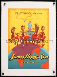 6t186 JAMES HOPPS & SON linen 13x19 Italian advertising poster 1920s art of woman in chariot w/wine!