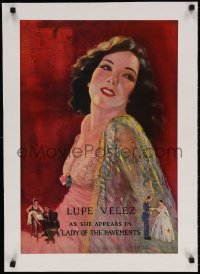 6t158 LADY OF THE PAVEMENTS linen 16x24 special poster 1929 Pancoast art of Lupe Velez, ultra rare!