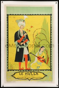 6t076 LE HULLA linen 30x47 French stage poster 1923 Rene Pesle art Indian man & pretty lute player!