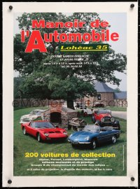 6t071 MANOIR DE L'AUTOMOBILE linen 17x24 French museum/art exhibition 1990s classic cars museum!